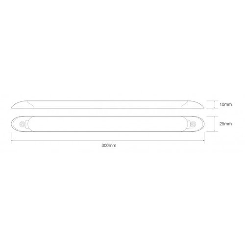 LED interieurverlichting | excl. schakelaar | 30cm. | wit | 24v. | koud wit