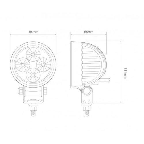 LED LA Werklamp   12 watt    440 lumen   12-24v   AMBER Light