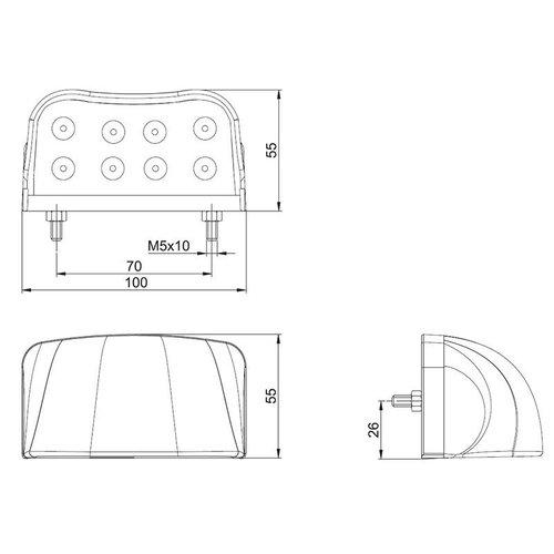 LED kentekenverlichting  | 12-36v | incl. connector 1.5mm2