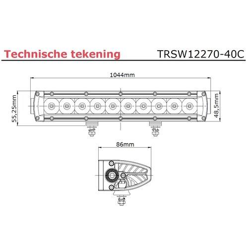 LED bar | 200 watt | 19200 lumen | 9-30v | 40cm. kabel + Deutsch