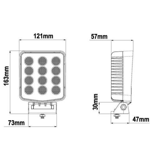 TRALERT® LED Werklamp 3000lm / ingeb. Deutsch / IP69K / 9-36v