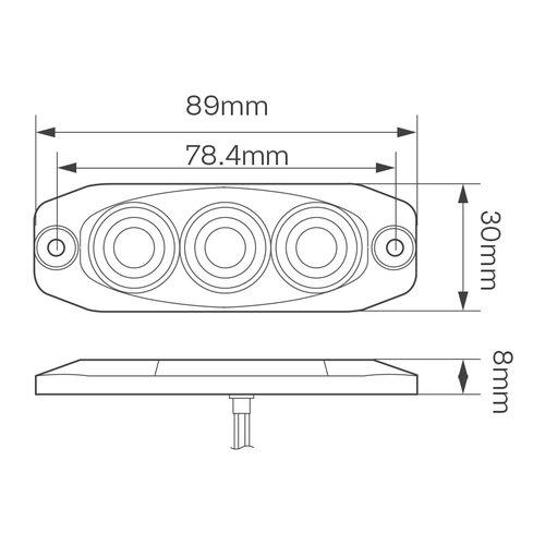 LED Compact achter/remlicht 12/24v (heldere lens)