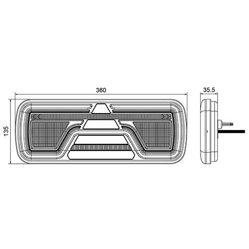 TRALERT® Rechts | LED Neon achterlicht | dynamisch knipperlicht | 12-24v | 5-PIN's Bajonet
