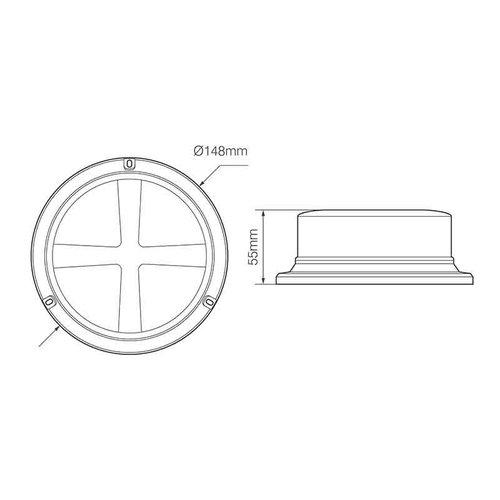 LED R65 low base zwaailamp amber/transp. magn-montage 12/24v