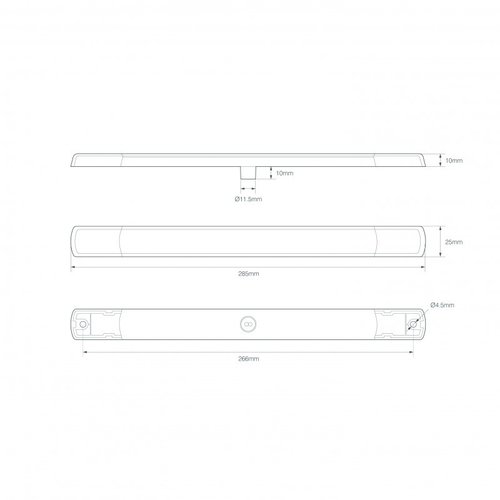 LED slimline achteruitrijlicht 12v chroom
