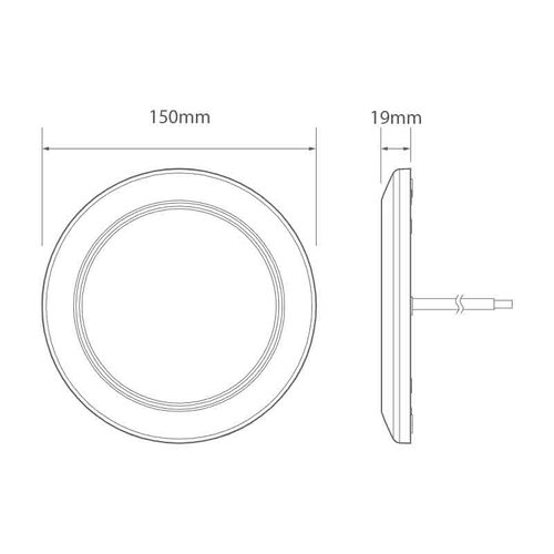 LED Interieurlamp 12v 6500K / 800lm chromen ring
