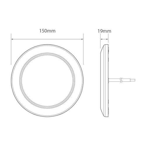 LED Interieurlamp 12v 3000K / 800lm witte ring