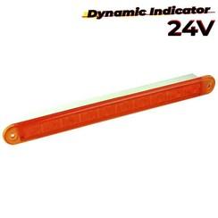 LED dynamisch knipperlicht slimline 24v 40cm. kabel (Amber lens)