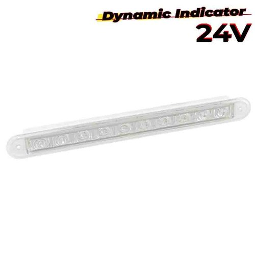 LED dynamisch knipperlicht slimline 24v 40cm. kabel (Transparante lens)