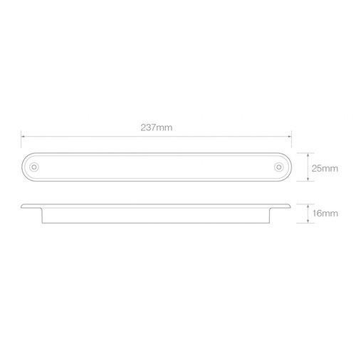 LED 3de remlicht slimline  24v 40cm. kabel (Rode lens)