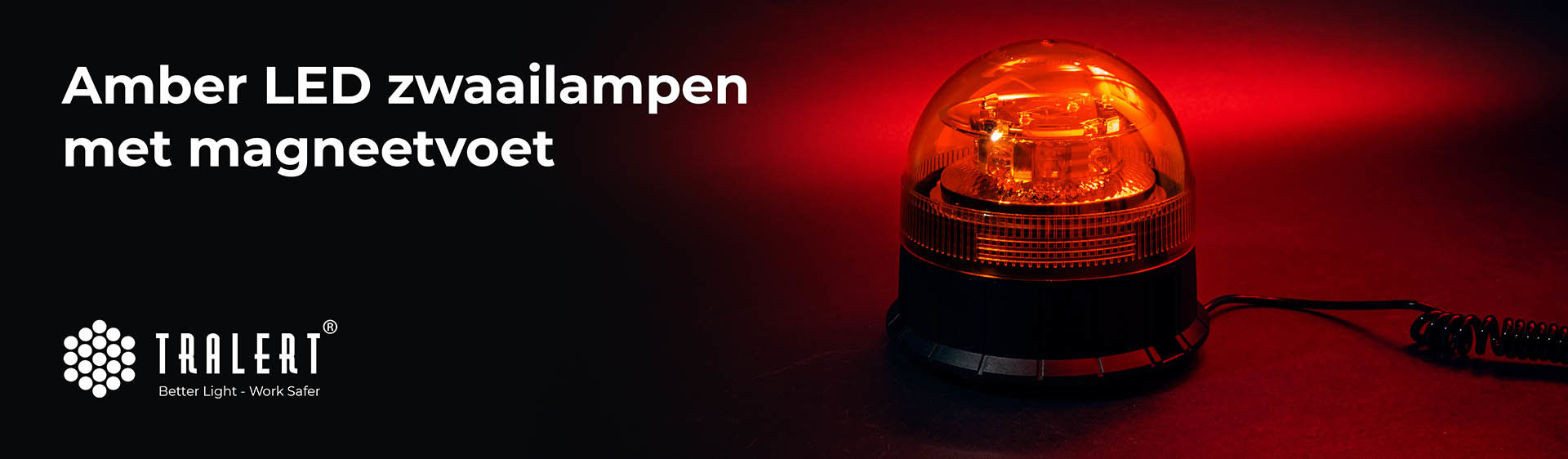 Tralert LED zwaailamp zwaailampen magneetvoet amber banner