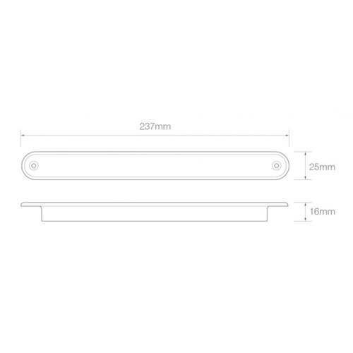 LED achteruitrijlicht slimline 24v 40cm. kabel (Transparante lens)
