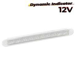 LED dynamisch knipperlicht slimline 12v 40cm. kabel (Transparante lens)