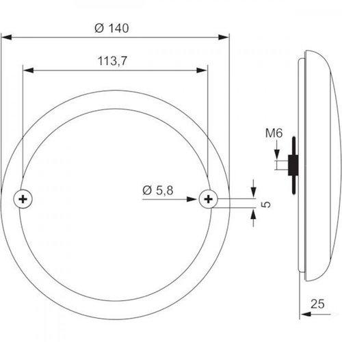 LED Slimline hamburger fog 12-24v 150cm cable