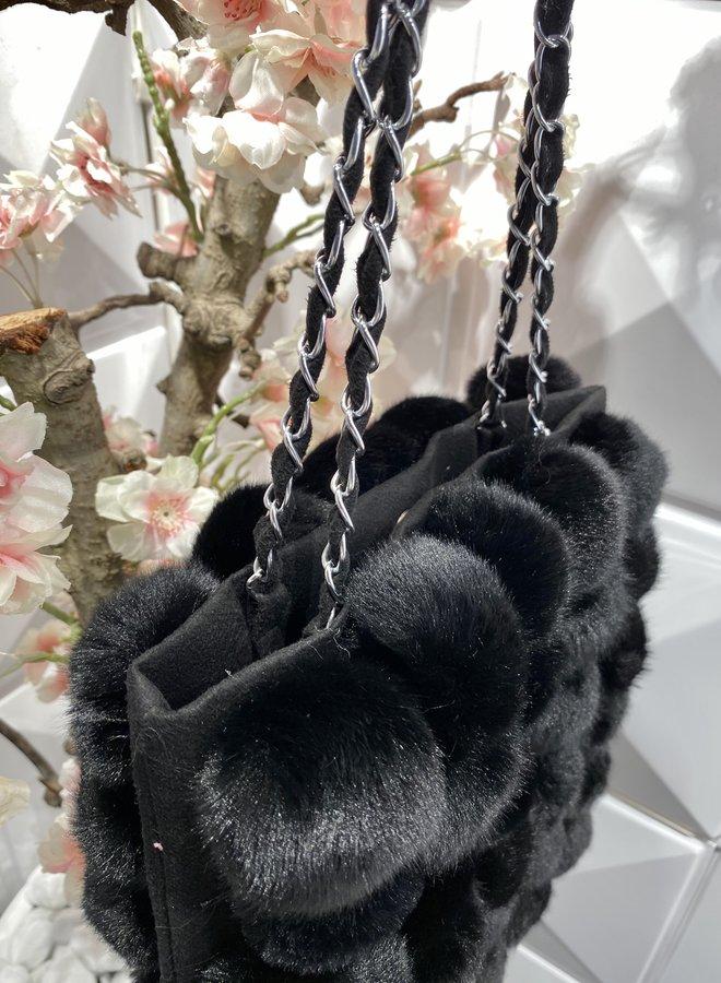 Faux fur shoulder bag - Zwart