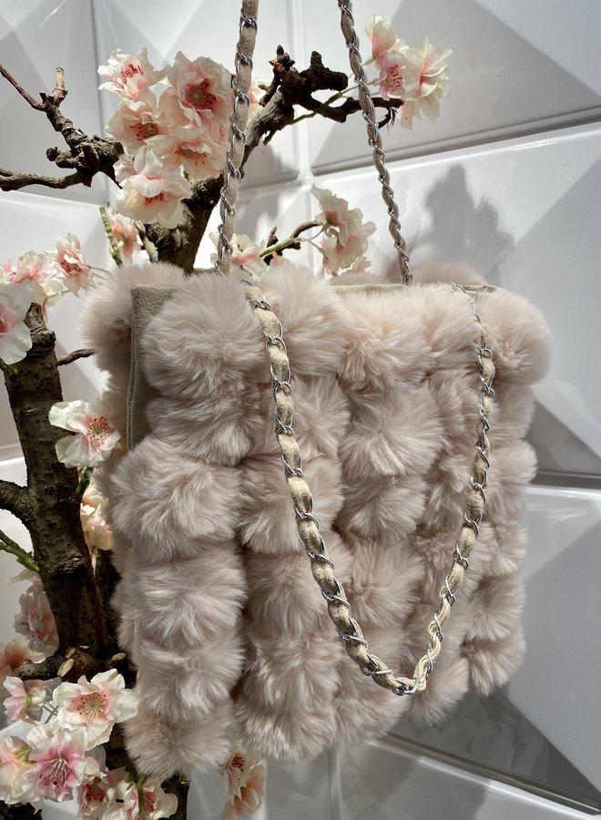 Faux fur shoulder bag - Beige