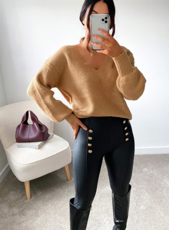 Faux Leather Button Legging - Zwart