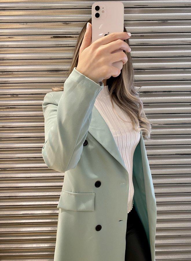 Lange blazer jas - mintgroen