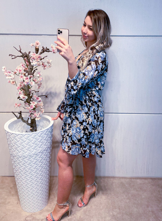 Kim Rose Dress Black/Blue