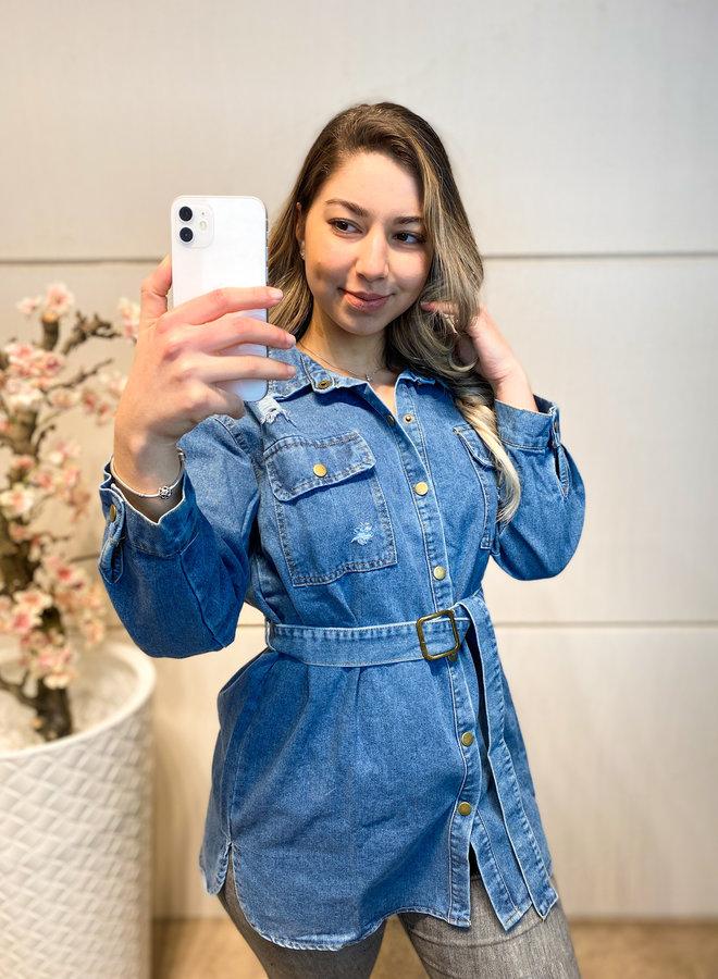 Denim overhemd met strikcentuur