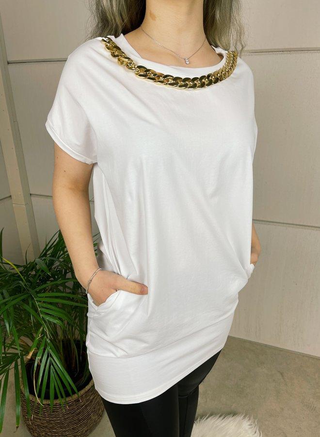 Lange t-shirt met ketting - wit