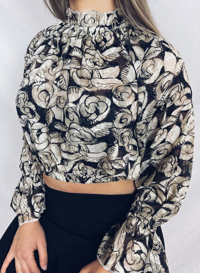 May floral top cropped beige