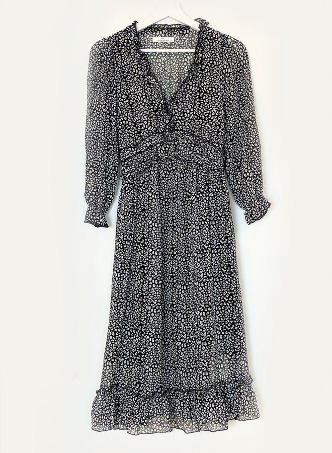 Diana Leopard Dress Black/White