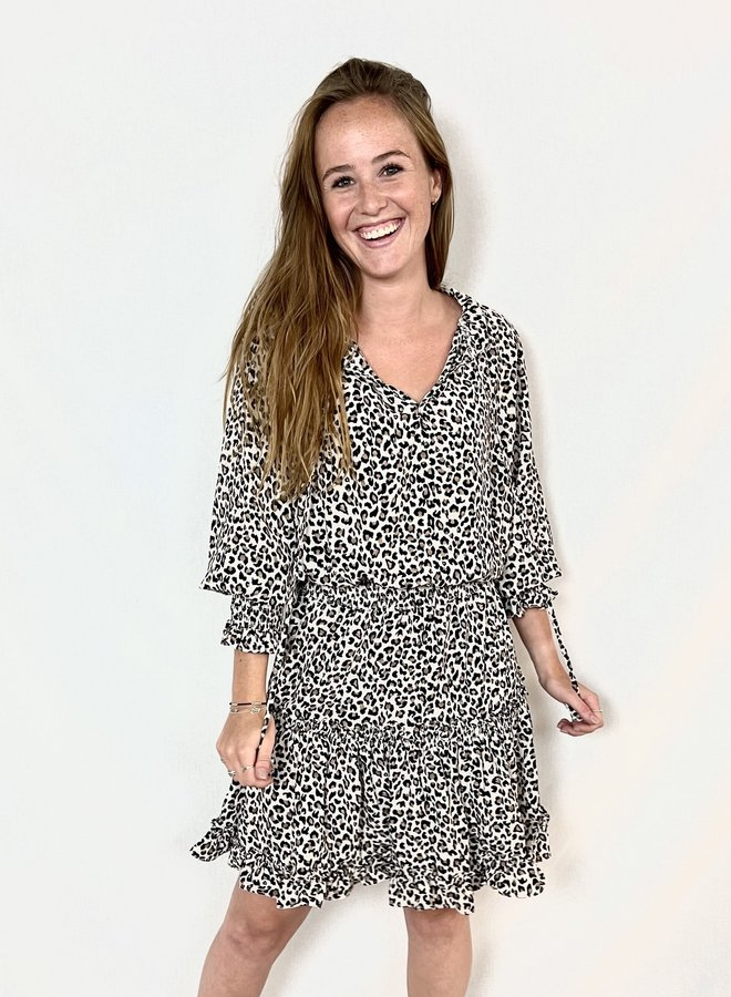 Chelsey Leopard Dress Beige
