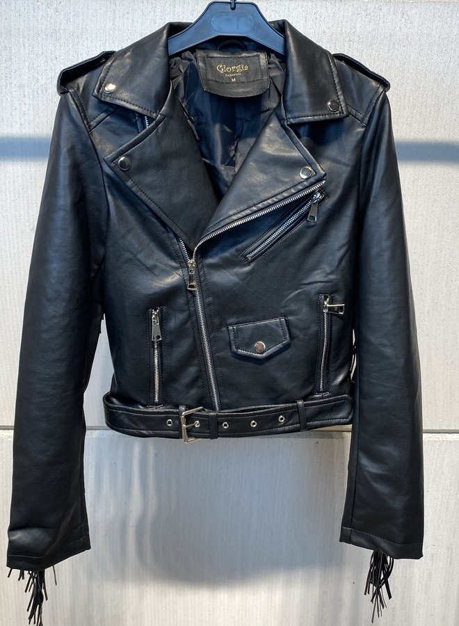 Giorgia Fringe Biker Jacket