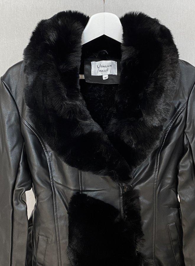 Vanessa Leather Fur Jacket Black