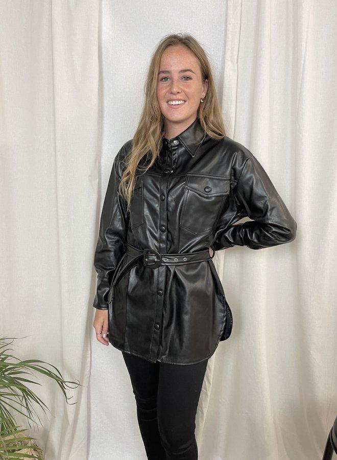 Leila leather blouse
