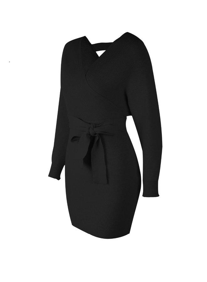 Nica Knit Dress Zwart