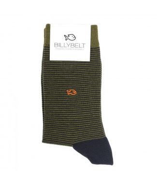 Billybelt Billy Belt Katoenen sokken Khaki Stripped 41 - 46