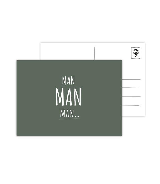 Eenmannenkado Wenskaart 'Man Man Man' - Groen
