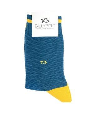 Billybelt Billy Belt Katoenen sokken Pique gebreid Blue Duck and Yellow 41 - 46
