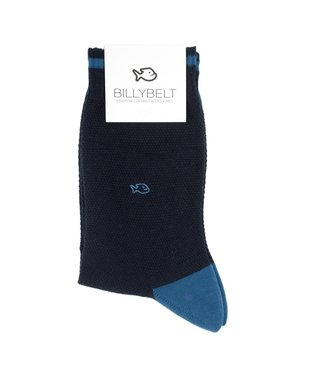 Billybelt Billy Belt Katoenen sokken Pique gebreid Navy & Blue 41 - 46