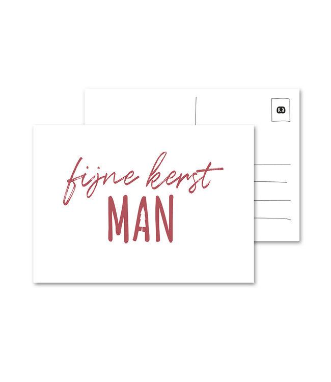 Eenmannenkado Fijne Kerst Man Ansichtkaart, wit