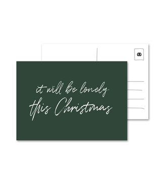 Eenmannenkado Lonely This Christmas Ansichtkaart, Groen