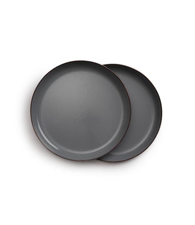 Barebones Enamel Plate/Bord - Stone Grey - Set van 2