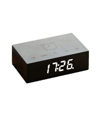 Gingko Flip Click Clock zwart LED wit