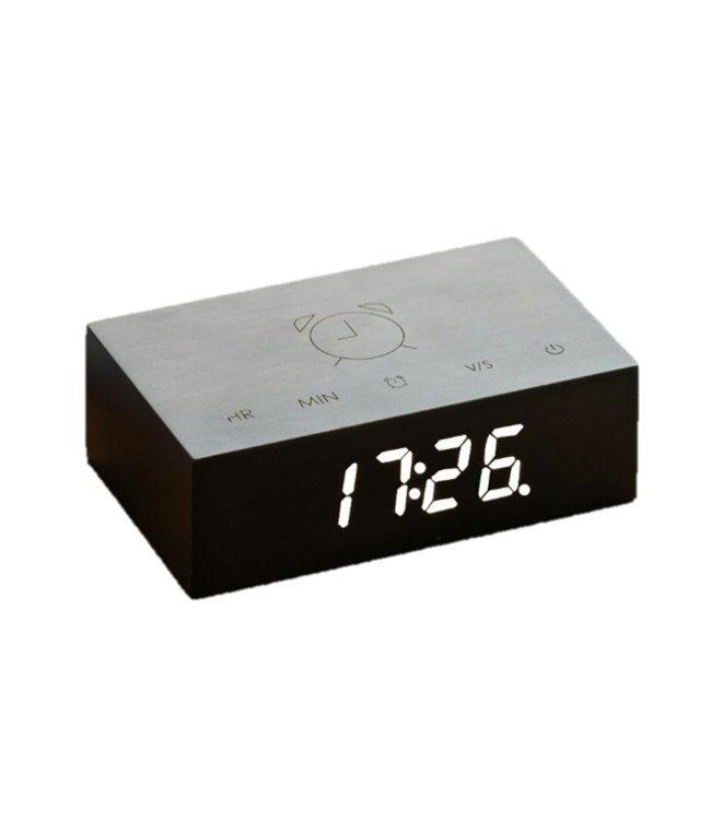 Gingko Flip Click Clock zwart LED wit