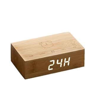 Gingko Flip Click Clock Bamboo LED Wit