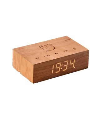Gingko Flip Click Clock Cherry LED Wit