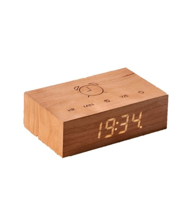 Gingko Flip Click Clock Cherry LED Wit