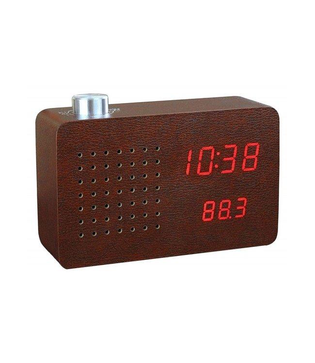 Gingko Radio Click Clock Leatherette - bruin
