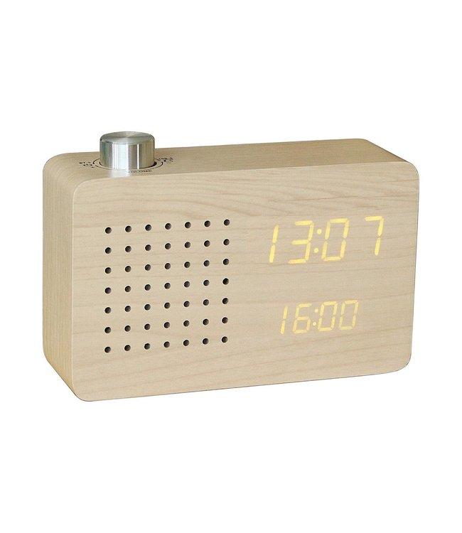 Gingko Radio Click Clock Leatherette - maple
