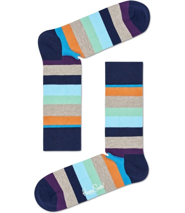 Happy Socks Colored stripe grijs-blauw-oranje