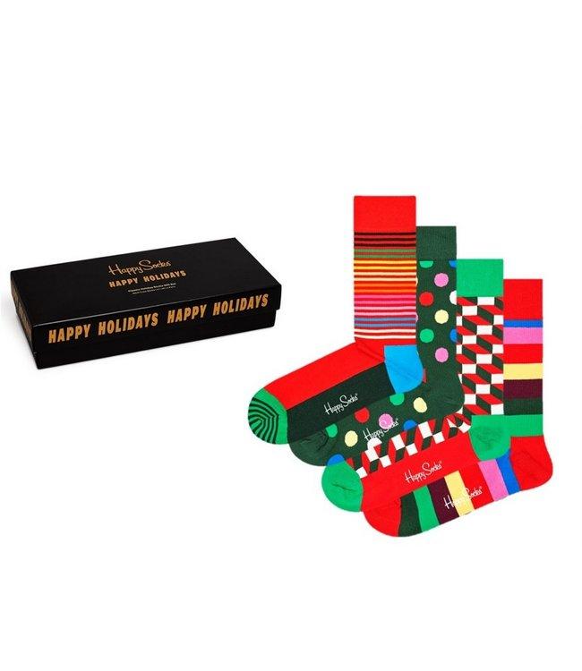 Eenmannenkado 4-pack Classic Happy Holidays sokken cadeauset