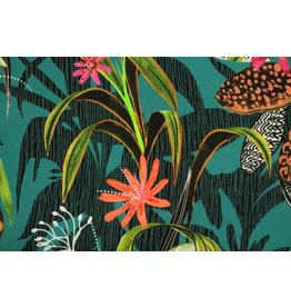 Atelier Jupe Turqouise viscose with tropical print
