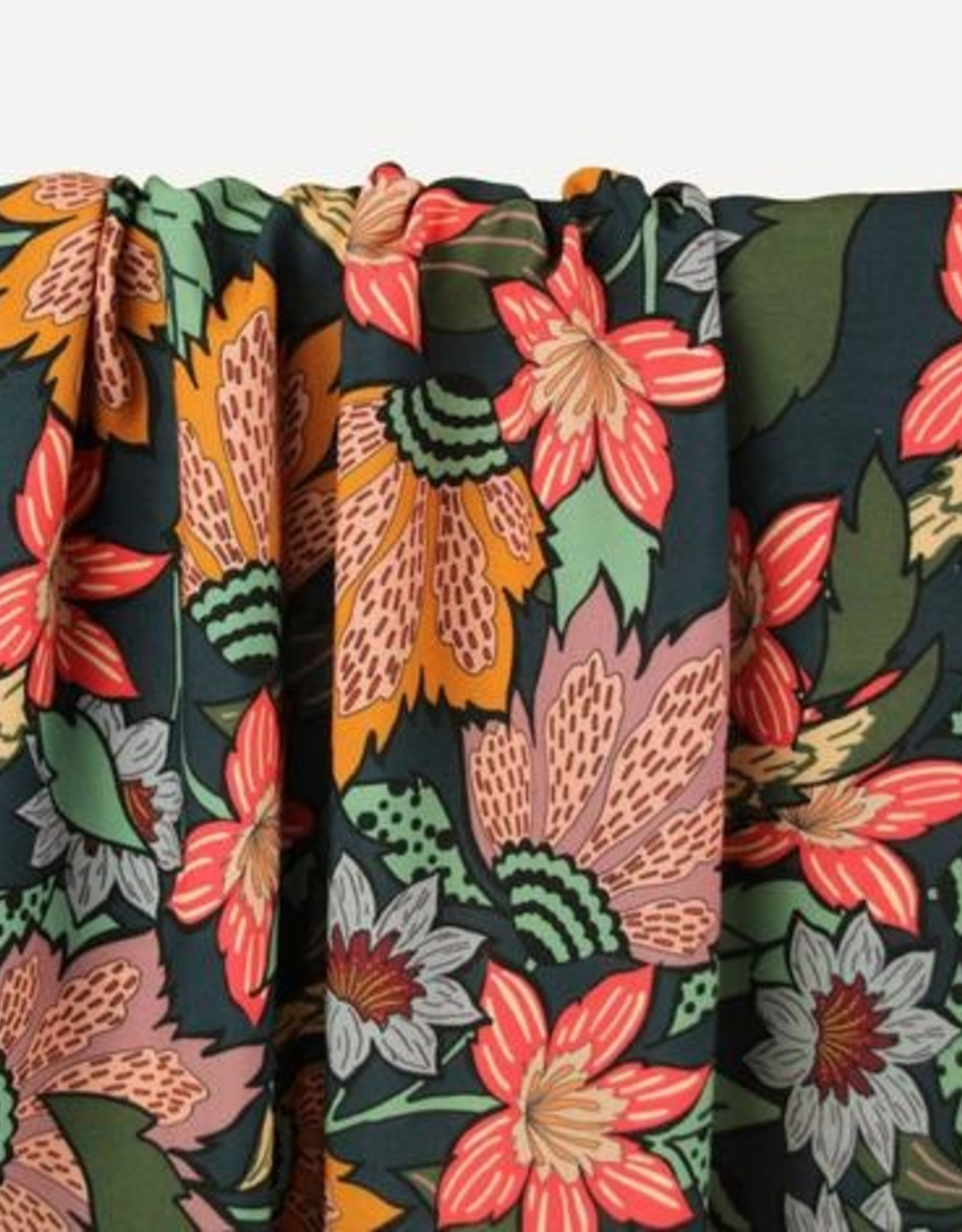 Atelier Jupe Viscose with large flower print COUPON 60cm